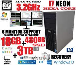 6 MONITOR HP TRADING COMPUTER XEON HEXA I7 3.2GHz18G 480G SSD3TB DESKTOP