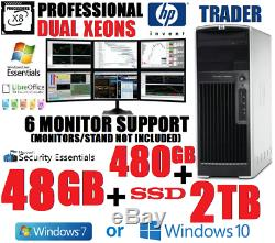 Beats I7! 8-cores Xeons 6-monitor HP Trading Computer 48g480g Ssd+2tbdesktop