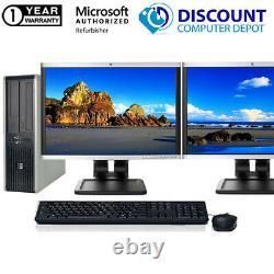 Custom HP Desktop Computer PC Intel C2D Windows 10 WIFI Dual LCD Monitor 17/19
