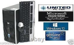 Fast Fast HP Tower Windows 10 Home Intel Core 2 Duo 2.6GHz 8GB DVD/RW WiFi ready
