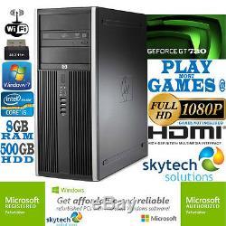 Fast Gaming PC Computer Bundle Intel Quad Core i5 8GB 500GB Windows 7 2GB GT730