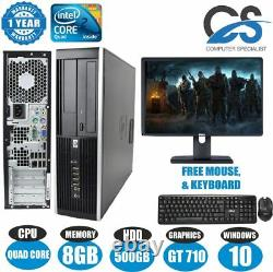 Fast HP Gaming Bundle Tower Pc Full Set Computer Intel Quad Core 8gb 500gb Gt710