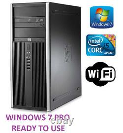 Fast HP Tower PC Intel Quad Core i5 Computer 3.1GHz 250GB 4GB PC Win 10 PRO WiFi