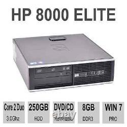 HP Computer 8000 Elite Desktop Windows 7 Pro Intel Core 2 Duo 3.0GHz 8GB 250GB