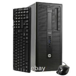 HP Computer Tower 8GB RAM 500GB HD Intel i5 Windows 10 PC Dual 22 LCD Monitor