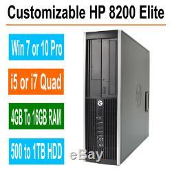 HP Desktop PC 8200/6200 Elite Windows 7/10 Intel i5/i7 Quad Core 4GB, 8GB, 16GB