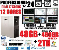 HP Xeon I7 12 Cores (24-processor) 6-monitor Trading Computer48gb480 Ssd+2tb