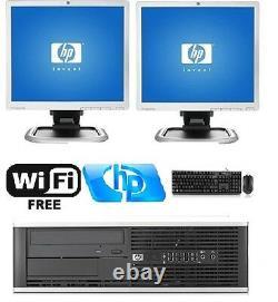 Hp Desktop PC Computer Dual Core 4GB RAM DUAL 19 LCD Monitor Windows 7 Pro