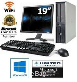 Hp Desktop PC Core 2 Duo 4GB 500GB HDD 19 LCD Monitor WiFi Windows 10 Warranty